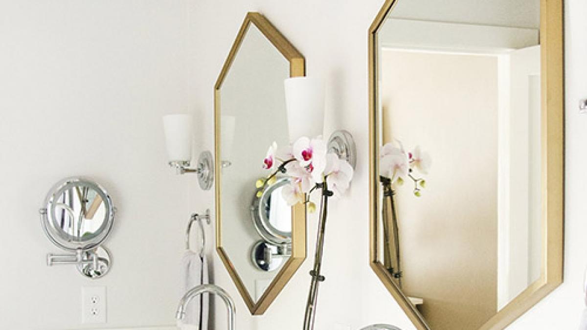 Master Bathroom Remodel Jillian Lare Interior Design Des Moines Iowa - Brass Mirrors, White Quartz, Dark Vanity Cabinets