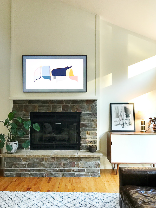 Samsung Frame TV Over the Fireplace