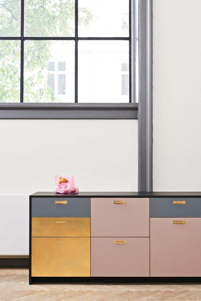 Modern IKEA kitchen, custom drawers by Reform, modern kitchen island, colorful kitchen