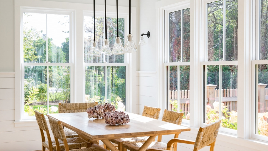 Light-filled breakfast nook by Martha Vineyard Interios