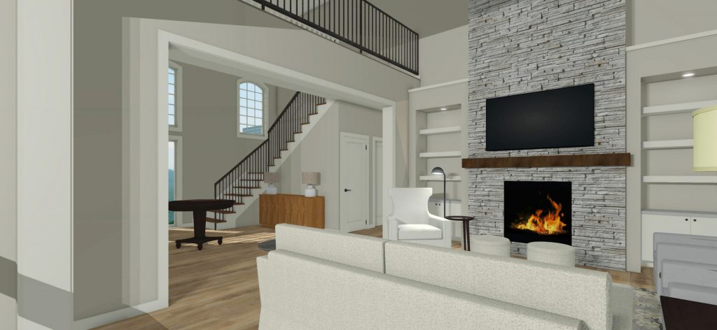 Living Room Built In Wall Units Fireplace with TV above