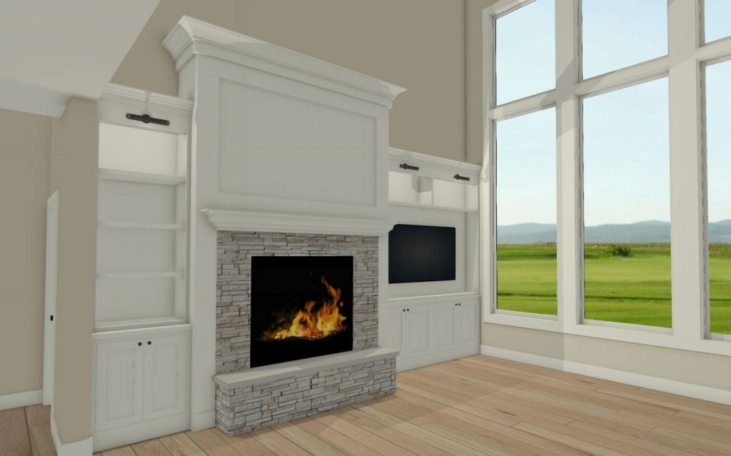 great room fireplace wall with asymmetrical built-ins on one side for flat screen TV