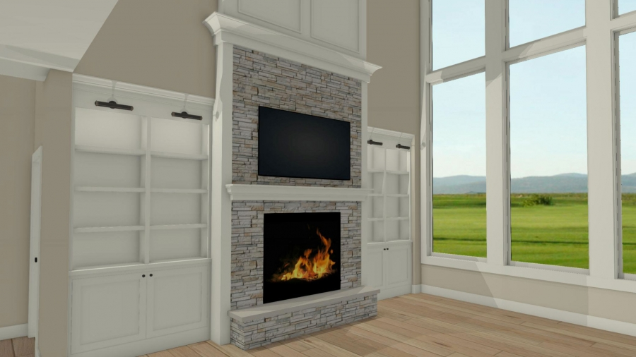 fireplace with built ins on each side, fireplace with tv above