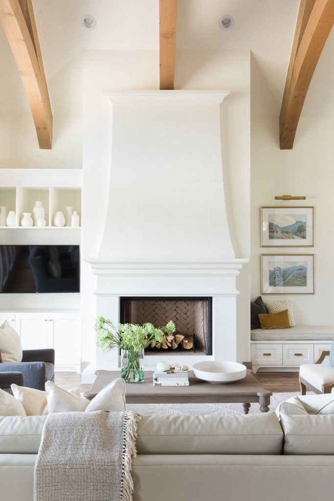 fireplace with built ins on one side House of Jade Interiors