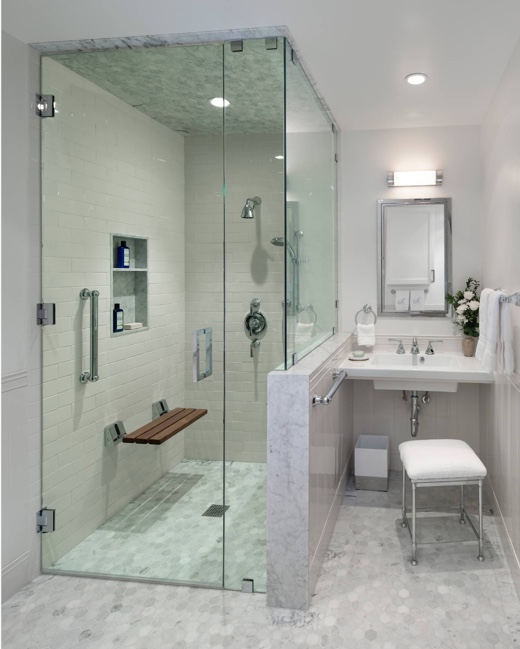 Aging in Place Bathroom Remodel - accessible shower design Barbara Grushow Designs