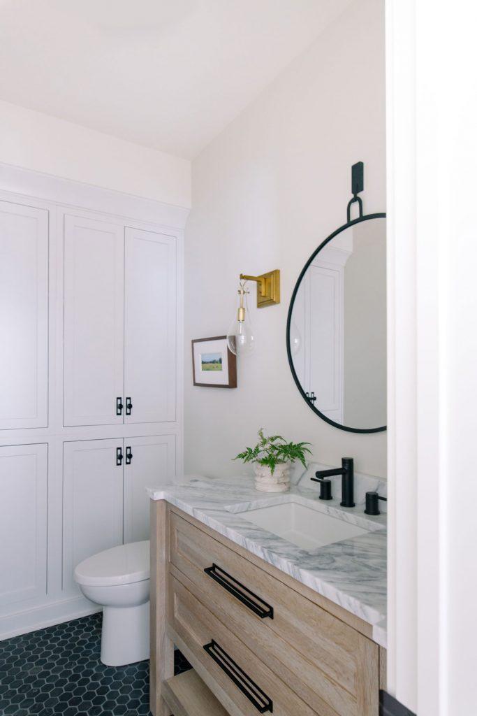 furniture style powder room vanity white oak marble countertop