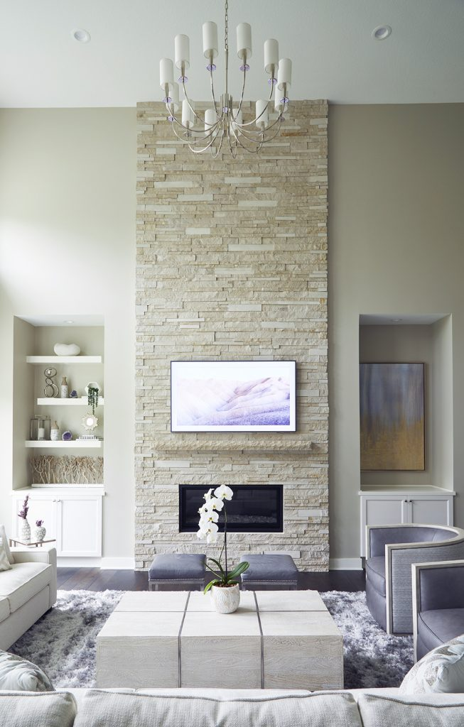 stacked stone fireplace samsung frame tv revere pewter