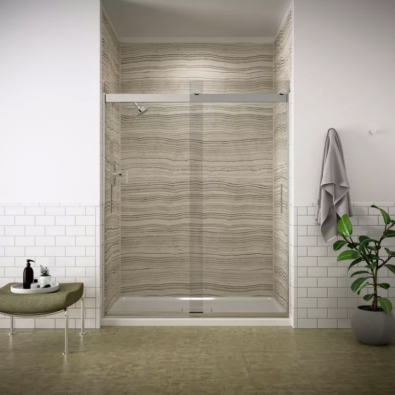 Kohler Sliding Glass Shower Door - Aging in Place Bathroom Remodel