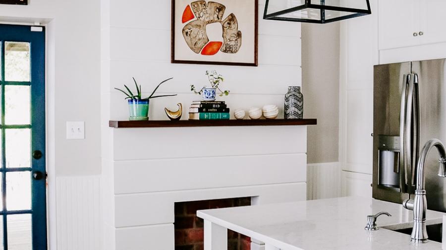 shiplap fireplace, slate floor, white IKEA kitchen remodel