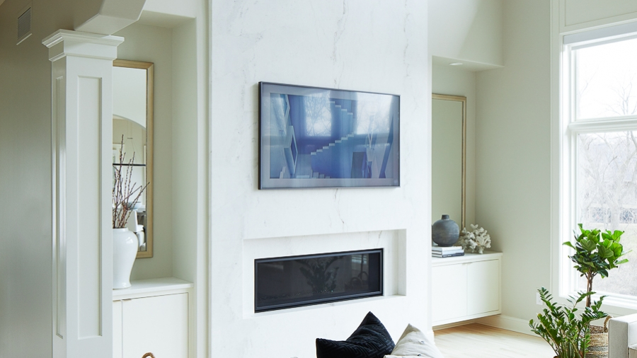 marble fireplace with built-ins
