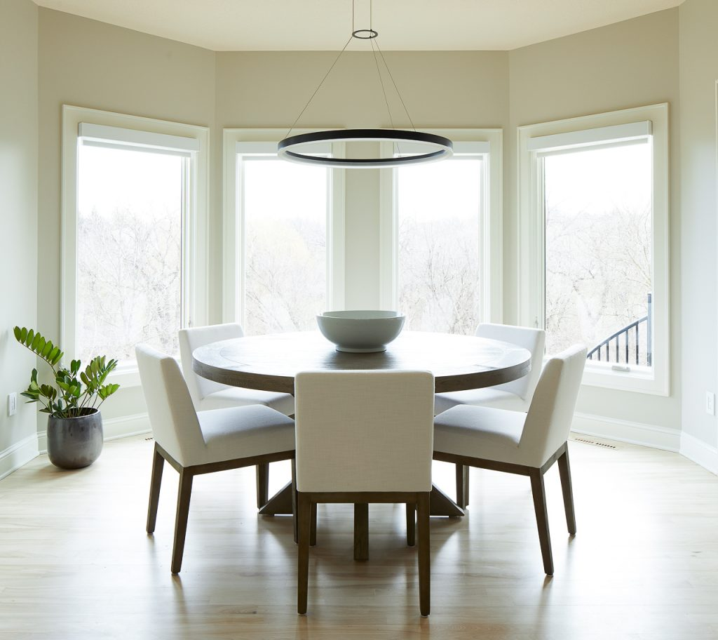 Bay window dining nook, Sherwin Williams SW9165 Gossamer Veil
