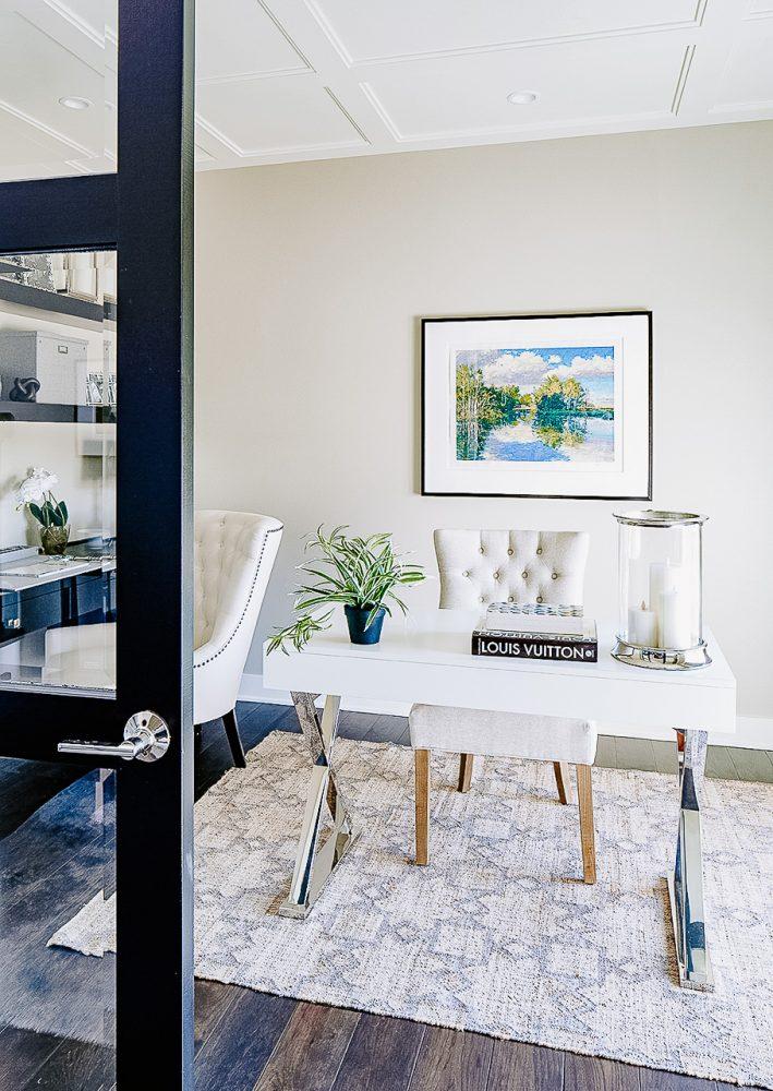 Home office Benjamin Moore Revere Pewter by Jillian Lare Interior Design