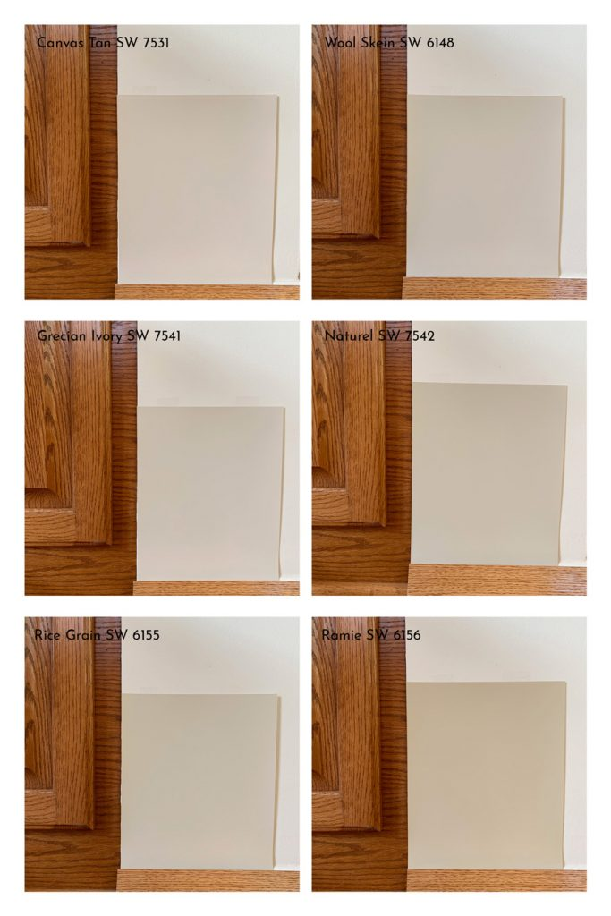 Comparison of Sherwin-Williams Light Beige Paint Colors with Oak