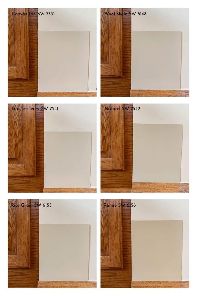 Comparison of Sherwin-Williams Light Beige Paint Colors with Oak