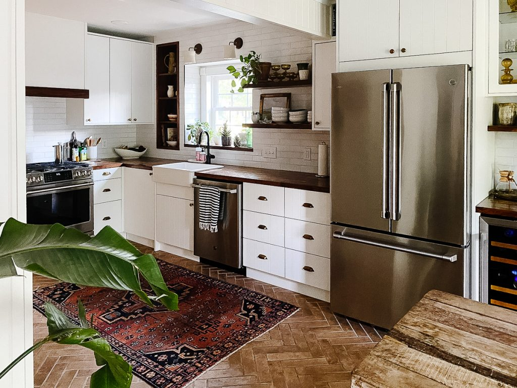 IKEA Kitchen Semihandmade White Cabinets Butcherblock